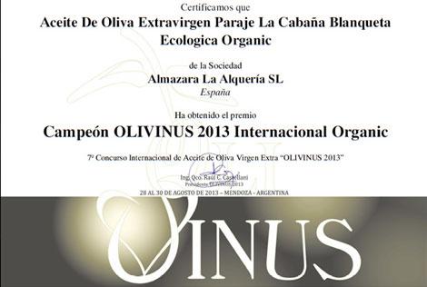 Olivinus 2013: Blanqueta Ecológica de Almazara La Alquería, ganadora